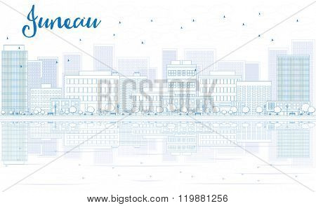 Outline Juneau skyline with blue buildings and reflections. Vector illustration. Business travel and tourism concept with place for text. Image for presentation, banner, placard and web site.
