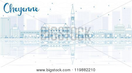 Outline Cheyenne skyline with blue buildings and reflections. Vector illustration. Business travel and tourism concept with place for text. Image for presentation, banner, placard and web site.