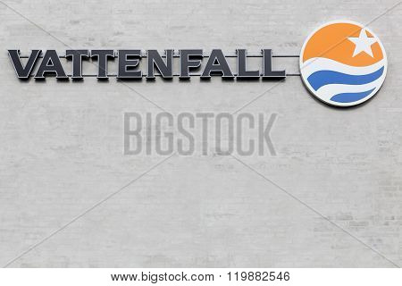 Vattenfall sign on a wall