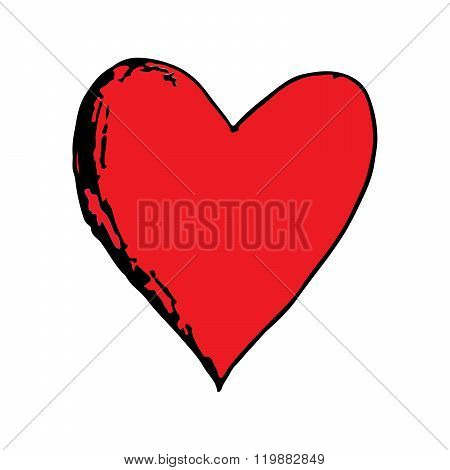 Red love heart doodle hand drawing vector