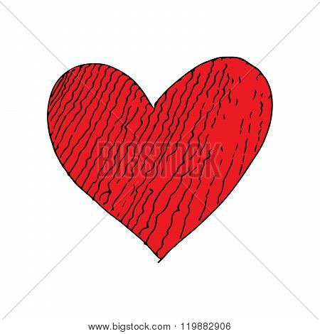 Red love heart crack doodle hand drawing vector