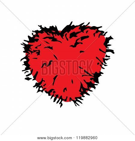 Red love shaggy fur heart doodle hand drawing vector