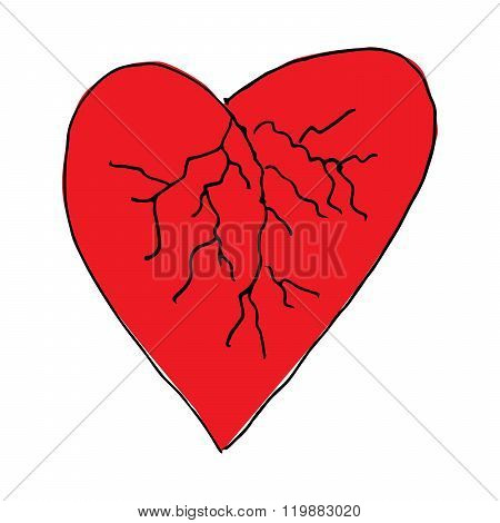 Red love heart blood vessels doodle hand drawing vector
