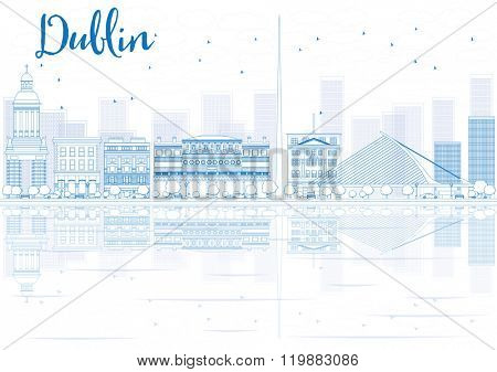 Outline Dublin skyline with blue buildings and reflections. Vector illustration. Business travel and tourism concept with place for text. Image for presentation, banner, placard and web site.