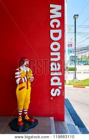 PATTAYA, THAILAND - FEBRUARY 25, 2016: Ronald McDonald character near McDonald's restaurant. Ronald McDonald is a clown character used as the primary mascot of the McDonald's restaurant chain.