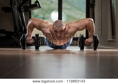 Gym Man Push-up Strength Pushups With Dumbbell