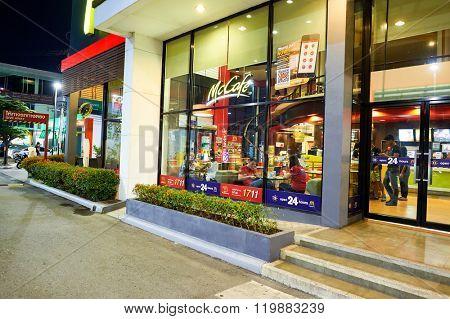 PATTAYA, THAILAND - FEBRUARY 21, 2016: McDonald's restaurant at night. McDonald's primarily sells hamburgers, cheeseburgers, chicken, french fries, breakfast items, soft drinks, milkshakes, desserts