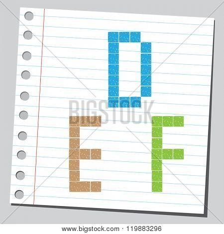 Pixel letters D,E,F