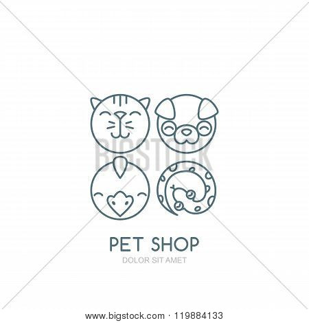 Vector Outline Illustration Of Dog Head, Cat Muzzle, Bird And Snake.