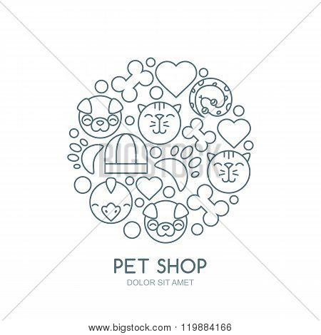 Linear Illustration Of Cute Muzzle Of Cat, Dog, Bird, Snake.
