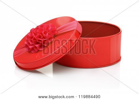 Red metal gift box isolated on white