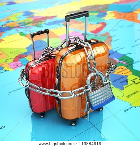 Security and safety of baggage or end of travelling concept. Luggage with chain and lock. 3d