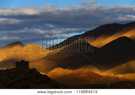 Sunset light over the Atlas Mountains, Morocco, Africa