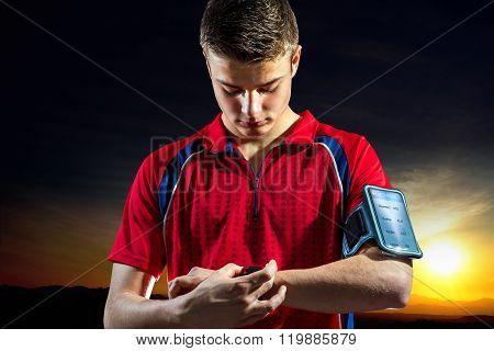 Teen Boy Reviewong Sport Activity On Smart Watch.