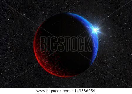 Extinct Planet With Burning Lava And Cracks. Blue Sunrise. Elements Of This Image Furnished By Nasa