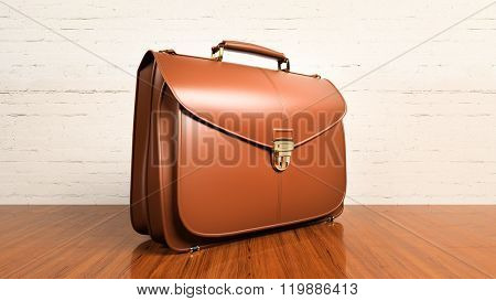Closeup of fashionable leather briefcase on hardwood table