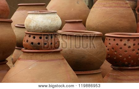 Stack of earthenware pots