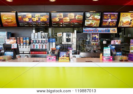 PATTAYA, THAILAND - FEBRUARY 25, 2016: inside of McDonald's restaurant. McDonald's primarily sells hamburgers, cheeseburgers, chicken, french fries, breakfast items, soft drinks, milkshakes, desserts