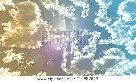 Colorful Cloud cross in sky