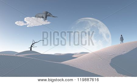 Elephant float on cloud in surreal landscape with observing man