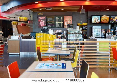 PATTAYA, THAILAND - FEBRUARY 25, 2016: interior of McCafe. McCafe is a coffee-house-style food and drink chain, owned by McDonald's.
