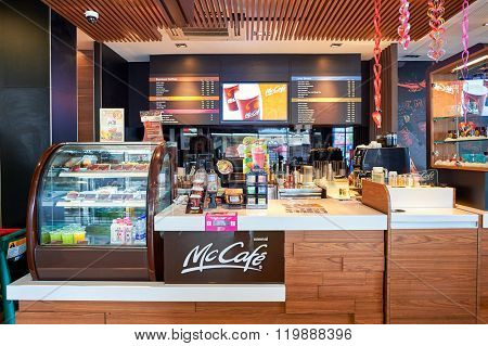 PATTAYA, THAILAND - FEBRUARY 20, 2016: interior of McCafe. McCafe is a coffee-house-style food and drink chain, owned by McDonald's.
