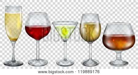 Transparent Glasses And Stemware With Drinks