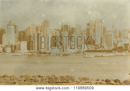 Aged Sepia Digital Grunge Distressed Effect New York