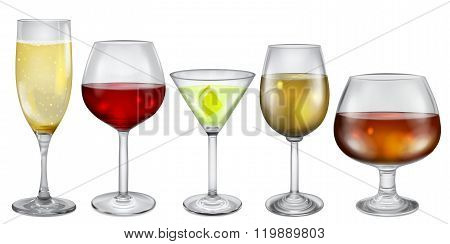 Glasses And Stemware With Drinks