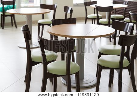 Wooden And Table Chair In Food Court