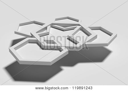 Five White Three-dimensional Hexagons On White Background