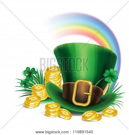 St. Patrick's Day Green Leprechaun Hat With Clover, Gold Coins And Rainbow, St.patrick's Day Symbol.
