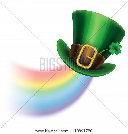 St. Patrick's Day Green Leprechaun Hat With Clover And Rainbow, St.patrick's Day Symbol.