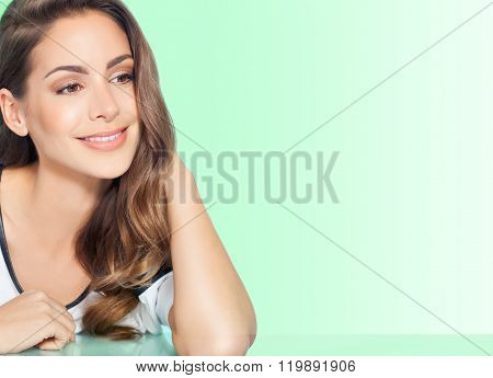 Woman Over Green Background