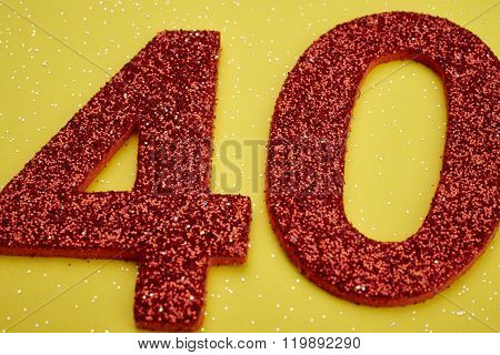 Number Forty Red Color Over A Yellow Background. Anniversary.