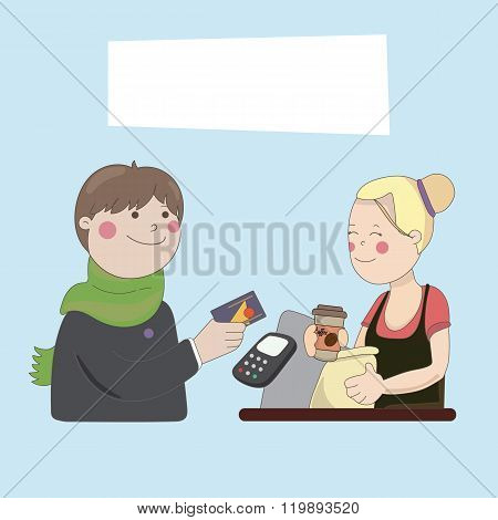 The guy in the cafe buy coffee by credit card