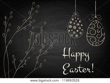 Easter Background With Pussy-willow And Eggs On Chalkboard
