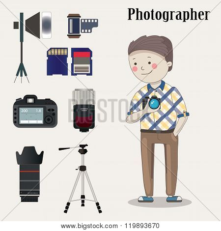 Freelance photographer with  photo camera