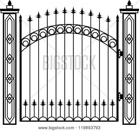 Wrought Iron Gate Pillar Vector Illustration