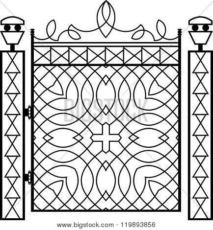 Wrought Iron Gate Pillar Vector Illustration