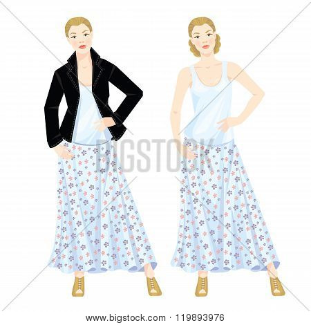 Vector illustration of romantic and casual style.