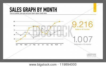 Sales graph by month slide template