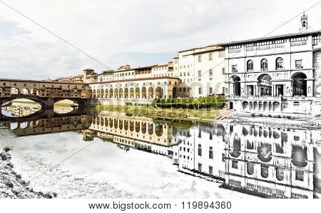 From Sketch To The Florence City - Beautiful Ponte Vecchio, Vasari Corridor And Uffizi Gallery Are M