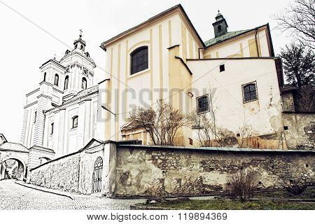 Church Of The Assumption, Banska Stiavnica, Slovakia, Illustration With Pencil, Past And Present