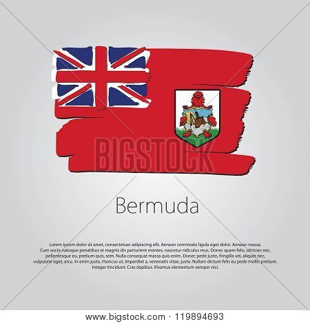 Bermuda Flag With Colored Hand Drawn Lines In Vector Format