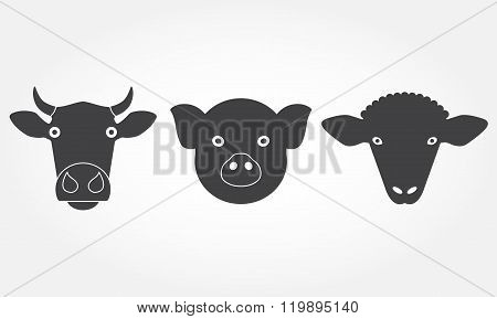 Farm animals set. Cow, pig and sheep head or face icons. Black isolated silhouettes. Vector.