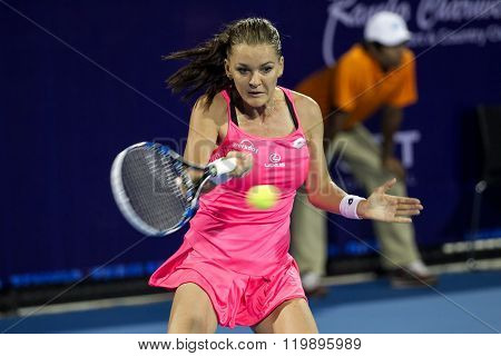 Hua Hin Thailand-Jan 1:World No.5 Tennis player Aginieszka Radwanska in World Tennis Thailand Championship 2016 Radwanska had win to Sara Errani 6-16-3 on January 1 2016 at True Arena Hua HinThailand