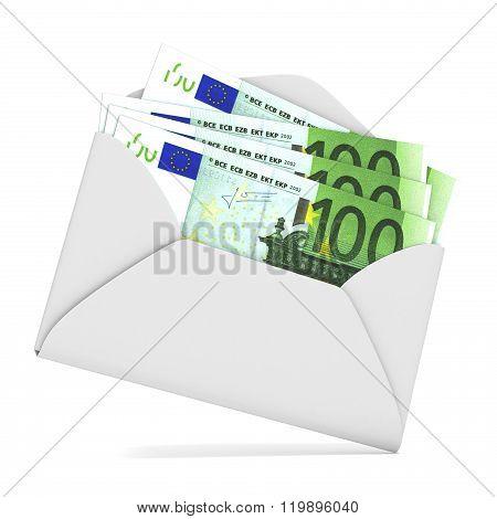 Euros in envelope. 3D