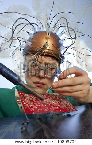 Crazy inventor replacement of electronic components on printed circuit board