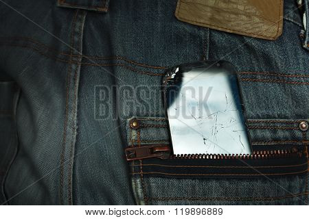 Damaged Mobile In A Pocket